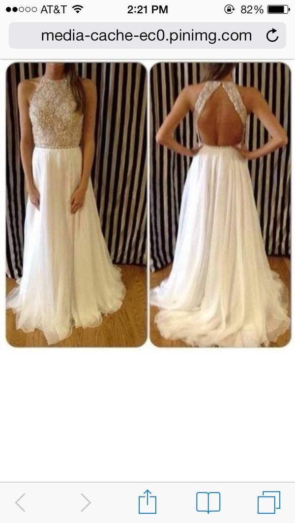 dress white prom dress beaded open back