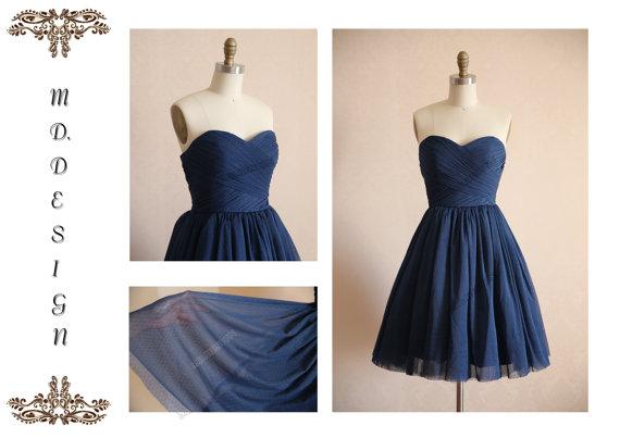 Navy Blue Short Bridesmaid Dress - Ocodea.com