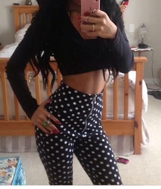 black pants polka dots polkdot black and white dot pants pattern pants