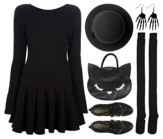 dress black dress long sleeves black pastel goth goth nu goth pale pale grunge soft grunge