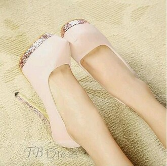 shoes nude pumps glitter heels pale pink high heels cute high heels