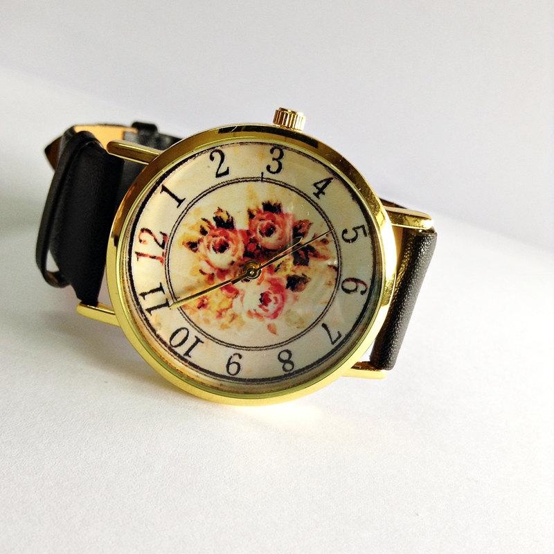 Floral Watch, Vintage Style Leather Watch, Women Watches, Boyfriend Watch,Orange flowers Black, Tan, White