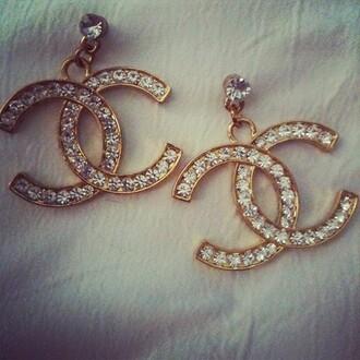 jewels chanel studs diamonds gold bag earings