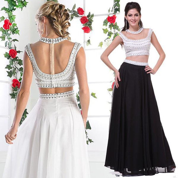 Cinderella Divine 961 Cap Sleeves Studded Bodice Two Piece Off White