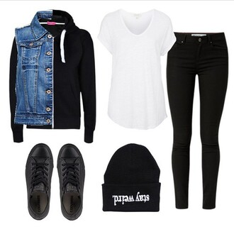 jacket alternative clothes converse girl outfit style sweater jeans top shoes hat