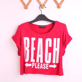 t-shirt red white tumblr chic grunge punk crop tops beach quote on it swimwear