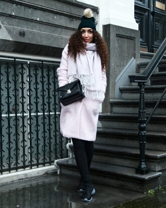 from hats to heels blogger pom pom beanie winter outfits lilac