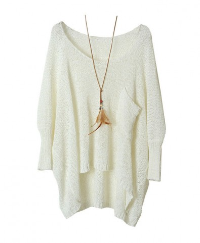 Single Patch Pocket Pullover with Batwing Sleeves in White - Knit Tops - Pullover - Knitwear - Clothing
