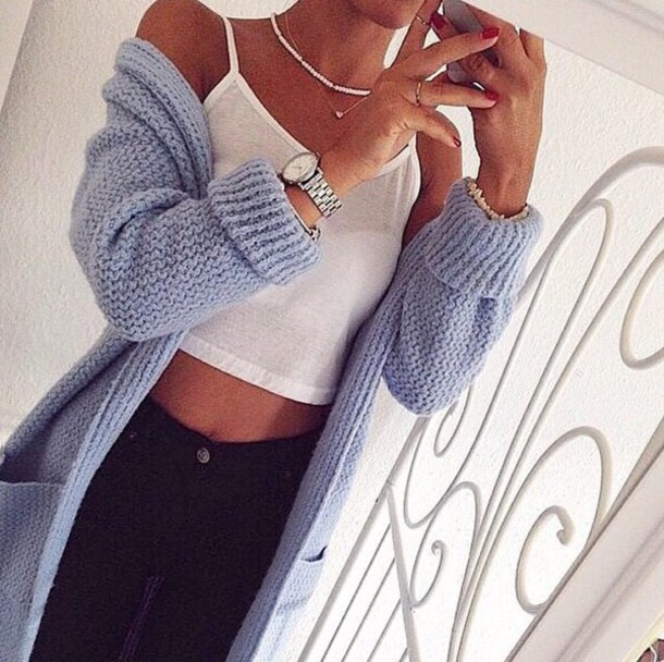 cardigan blue cardigan jacket jewels shirt pastel tank top wool knitwear