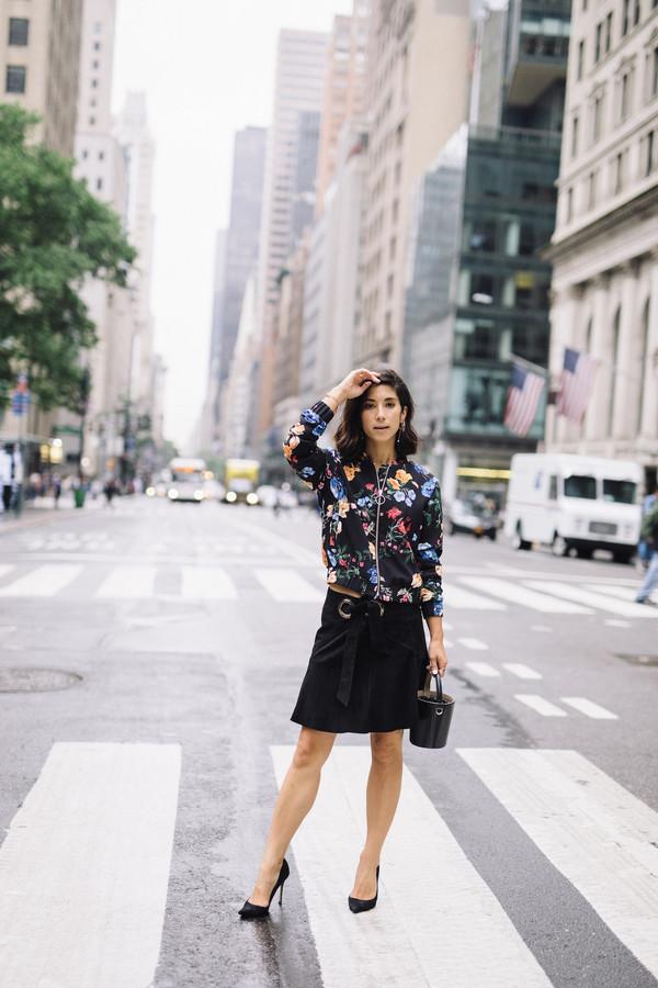 jacket floral jacket pumps mini skirt black skirt bag earrings
