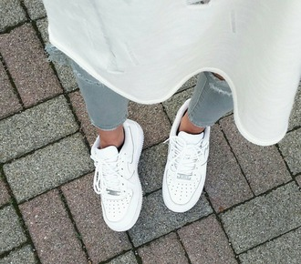 shoes nike nike air force white silver nike shoes
