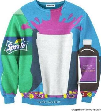 shirt sweater sprite lean double cup cough syrup syrup blue purple green black white jolly ranchers unisex crewneck pullover swag blouse jacket waka flocka