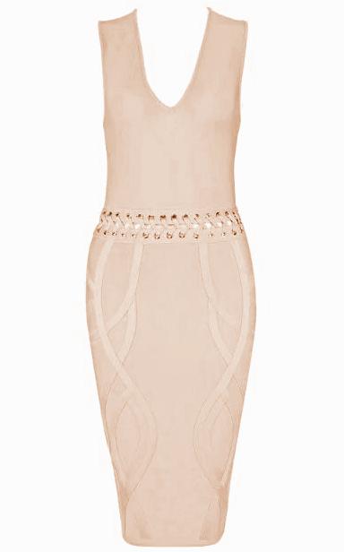 Lace Up Waist Bandage Dress Nude