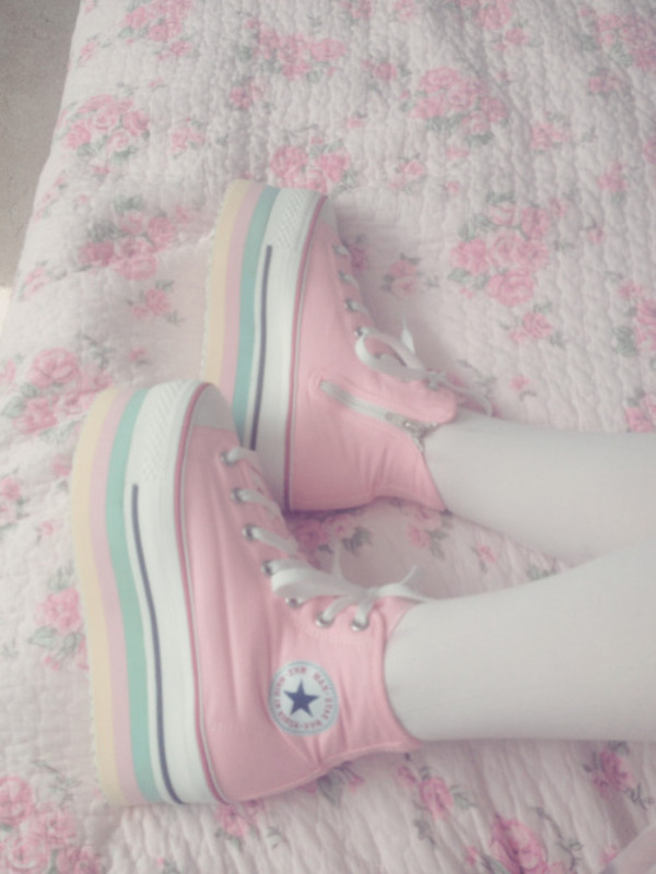 shoes creepers pumps pastel converse kawaii cute lovely cool lovely pretty tumblr pink pastel pink yellow turqoise hipster grunge pastel grunge pastel goth harajuku fairy kei