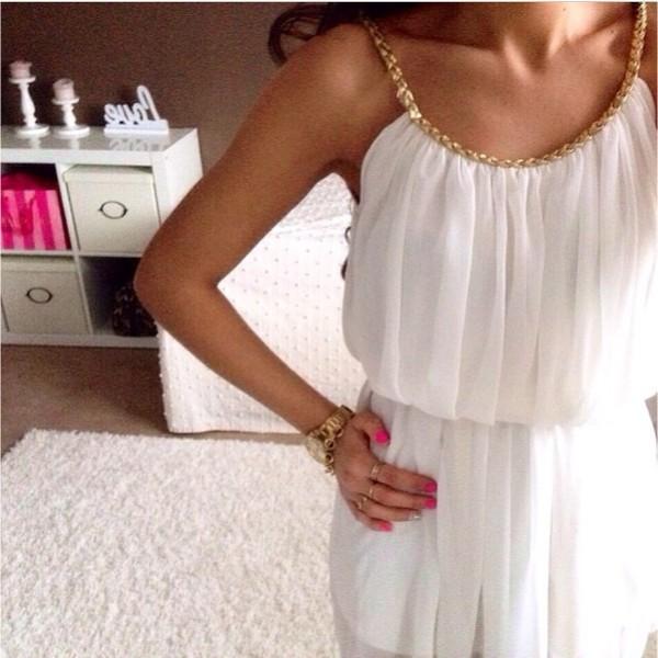 dress greek style white blouse gold chain jewelry jewels pretty fashion zara heels high heels boho indie indian hippie t-shirt shoes white dress cute summer dress