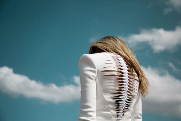 jacket white blazer cut-out