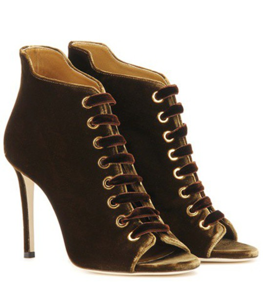 Jimmy Choo 100 boots ankle boots velvet brown shoes