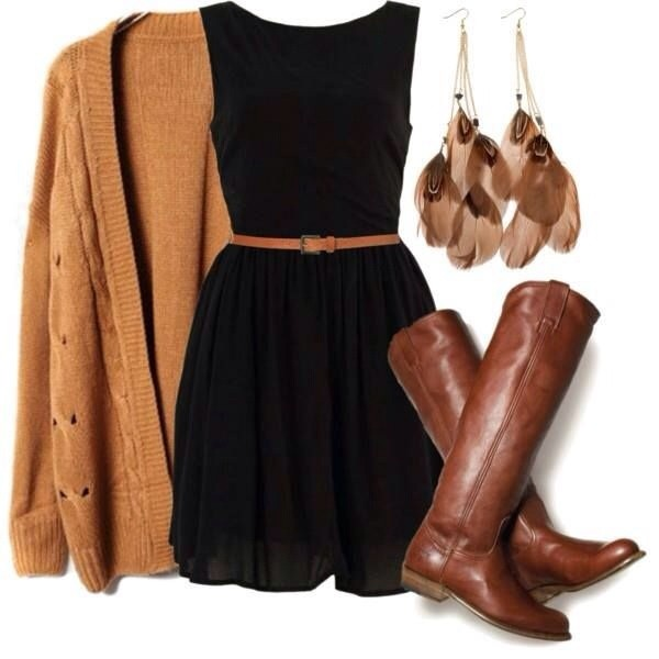 shoes riding boots brown leather boots boots fall boots dress sweater brown brown boots black dress cardigan fall outfits fall dress flare boat neck brown cardigan mini dress cute dress tumblr outfit idea tan cardigan
