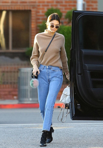 jeans kendall jenner streetstyle model off-duty kardashians turtleneck sweater sweater fall outfits