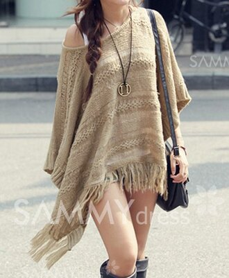 cardigan sweater fringes fringes cardigan back to school off the shoulder off the shoulder sweater boho boho chic batwing autumn/winter poncho poncho sweater crochet cape