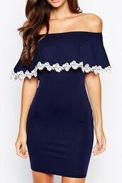 dress,navy dress,strapless dress,bodycon dress,crochet,ruff,ruffle