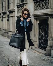 coat,black coat,pants,white pants,bag,sunglasses