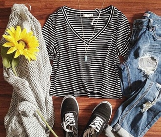 shirt black and white stripes v neck jeans sweater shoes