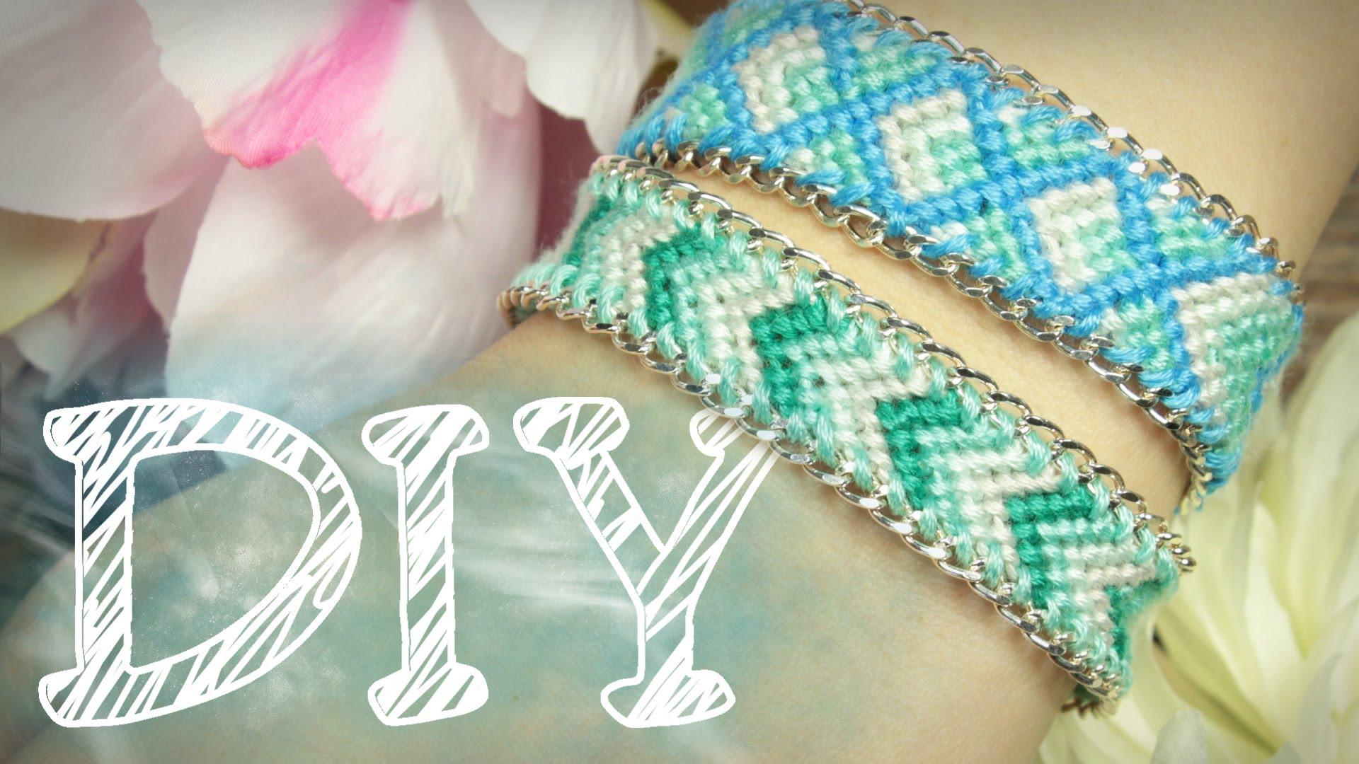DIY Knüpfarmband in Pfeiloptik mit Kette - Freundschaftsarmband - Kettenarmband - YouTube
