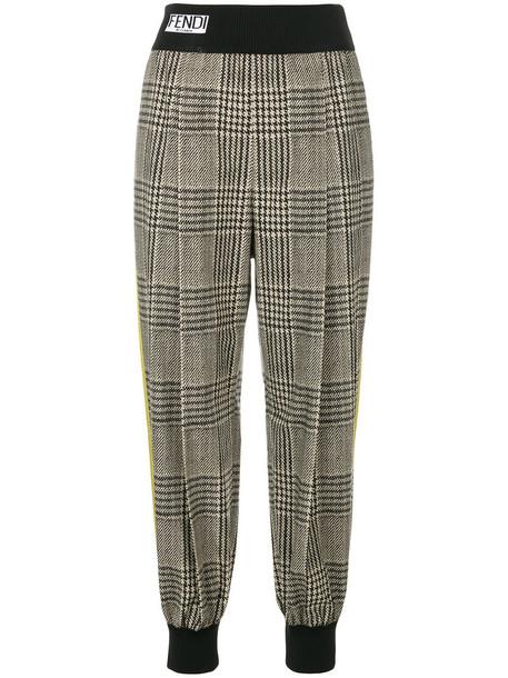 Fendi women spandex plaid cotton pants