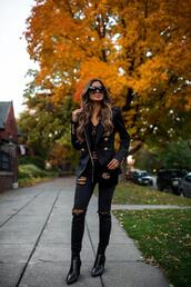 maria vizuete,mia mia mine,blogger,jacket,dress,all black everything,gucci bag,gucci belt,fall outfits,blazer