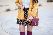 skirt,navy,beige,mustard,white,oxblood,heart,over the knee,jacket,bag