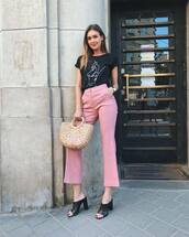 pants,pink pants,wide-leg pants,top,bag,shoes