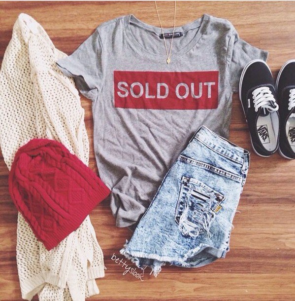 shirt t-shirt cardigan grey red sold out