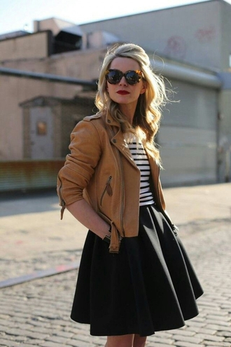skirt black skater skirt jacket brown leather