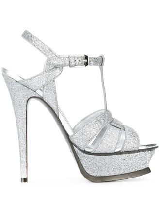 women classic sandals leather grey metallic shoes