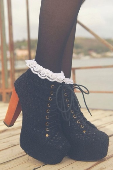 frills shoes high heel boots boots lace black lacey frills lace up high heel boots, boots, black, lace, frills