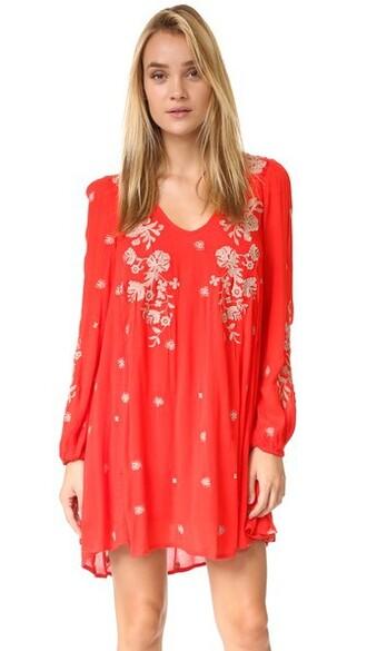 dress mini dress mini embroidered sweet red