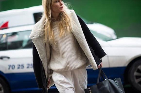 laine manteau whool blanc noir