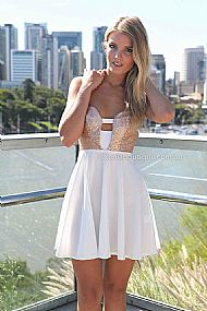 PRE ORDER - MARIAH DRESS (Expected Delivery 16th April, 2014) , DRESSES, TOPS, BOTTOMS, JACKETS & JUMPERS, ACCESSORIES, 50% OFF SALE, PRE ORDER, NEW ARRIVALS, PLAYSUIT, COLOUR, GIFT VOUCHER,,White,CUT OUT,STRAPLESS,Gold Australia, Queensland, Brisbane