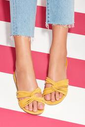 shoes,sole society,flat sandals,flats,strappy flats,summer  shoes,summer accessories,yellow,yellow shoes,slip on shoes