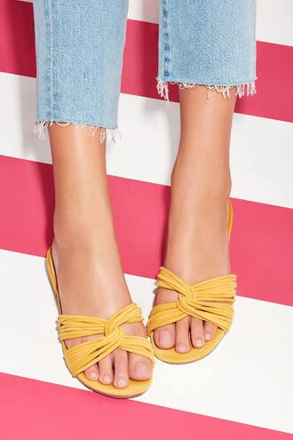 shoes sole society flat sandals flats strappy flats summer  shoes summer accessories yellow yellow shoes slip on shoes