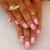jewels,gold midi rings,love ring,nail polish,pastel pink,diamonds,nail accessories,pink,nails,cute,bow,rhinestones
