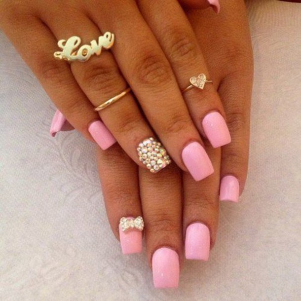 jewels gold midi rings love ring nail polish pastel pink diamonds nail accessories pink nails cute bow rhinestones