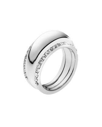 Michael Kors Pave-Insert Ring, Silver Color - Michael Kors