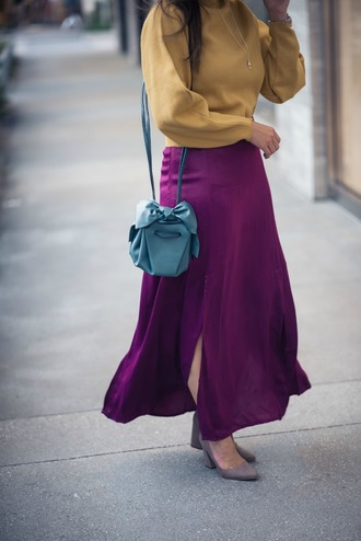 live more beautifully blogger skirt sweater jewels shoes purple skirt maxi skirt yellow sweater blue bag shoulder bag pumps fall outfits