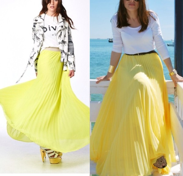 skirt pleated skirt yellow fashion fall outfits
