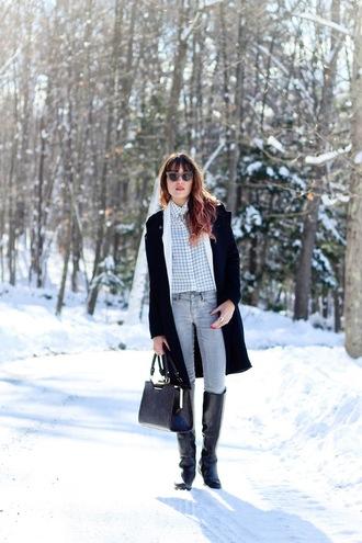 the marcy stop blogger blouse bag shoes coat jacket leggings jewels sunglasses