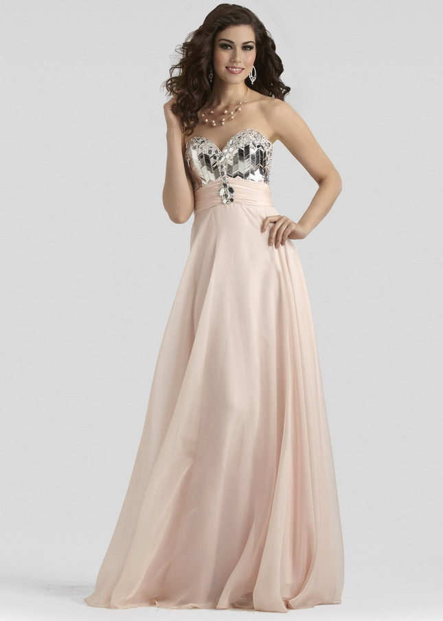 Beaded Bust Long Nude Clarisse 2308 Strapless Evening Gown [Clarisse 2308 dress nude] - $178.00 : Prom Dresses 2014, Homecoming Dresses 2014