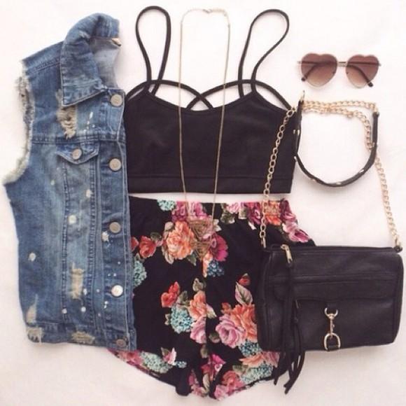 straps cut-out top black top cutout top denim necklace purse