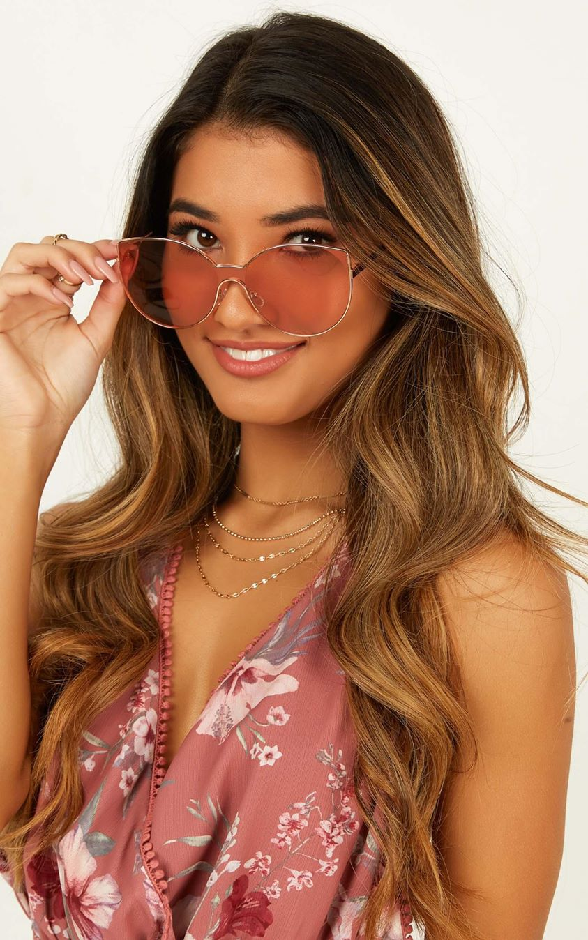 Showpo Find The Words Sunglasses In Pink Euro Vacay Edit